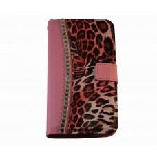 Galaxy Note 3 boekhoesje luipaard diamond roze