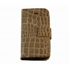 iPhone 5C boekhoesje beige croco