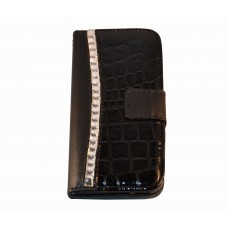 iPhone 5C  boekhoesje croco diamond zwart
