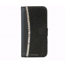 iPhone 6 Plus boekhoesje croco diamond zwart