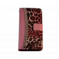 iPhone 6 boekhoesje luipaard diamond roze