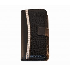 iPhone 6 boekhoesje croco diamond zwart
